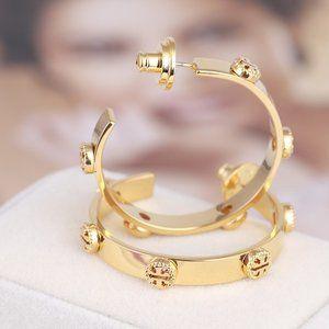 Tory Burch Fashion Hollow Logo Open Earrings